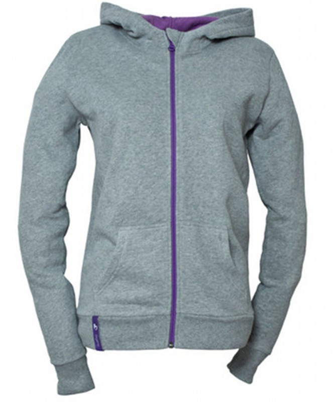LADIES ZIP HOODY LIGHT GREY organic cotton