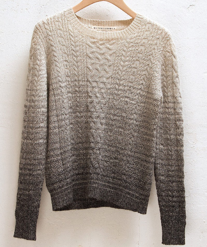 Aran Crew Neck Knit grey